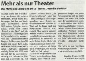 Mehr als nur Theater (von Caroline Hornbeck und Christoph Bosten)
